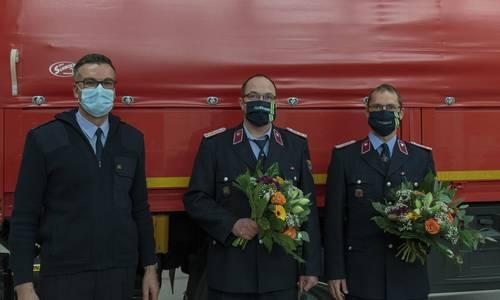 v. l. n. r. Matthias Forst (Stadtwehrleiter), Marcus Frenkel (stellvertretender Ortswehrleiter), Jan Schurig (Ortswehrleiter)
