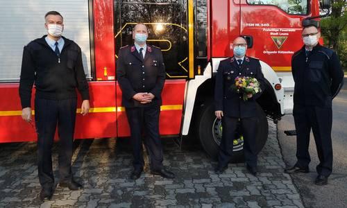v. l. n. r. Matthias Forst (Stadtwehrleiter), André Klinge (Ortswehrleiter), Steve Piller (Kandidat), Marcus Heller (stellvertretender Stadtwehrleiter) ©FF Stadt Leuna
